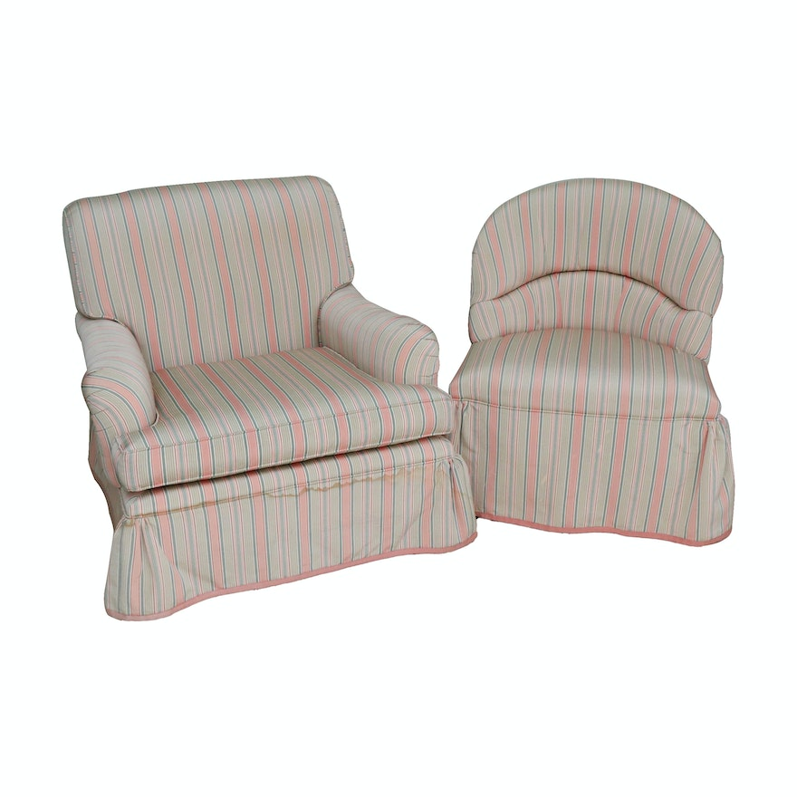 John Widdicomb Stripe Upholstered Armchair and Slipper Chair, Late 20th Century