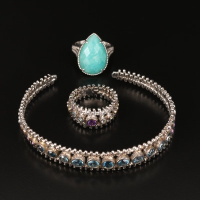 Sterling Topaz and Amethyst Bracelet and Ring Set Including Effy Amazonite Ring