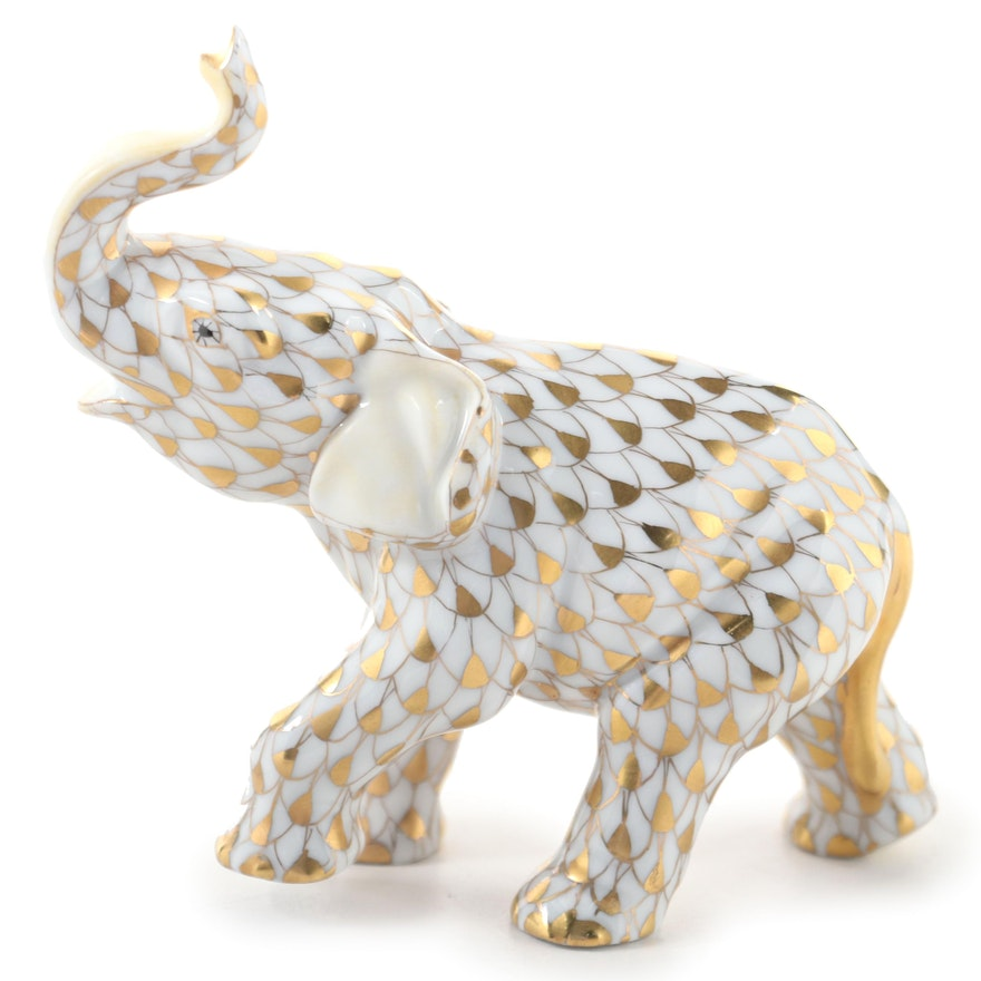 "Herend Guild 175th Anniversary Gold Fishnet ""Baby Asian Elephant"" Figurine, 2001"