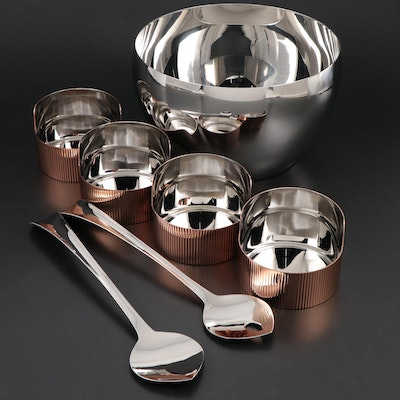 "Georg Jensen Stainless Steel ""Urkiola"" and ""Cafu"" Bowls with ""Duo"" Utensils"