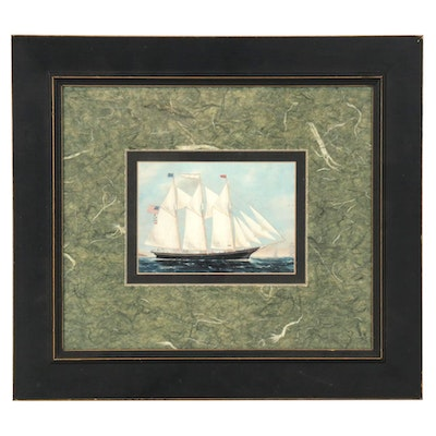 Offset Lithograph of Nautical Scene with Schooner