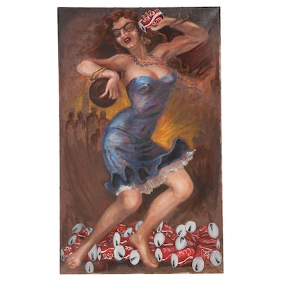 Oil Painting of Dancing Woman with Coca-Cola, Mid-20th Century