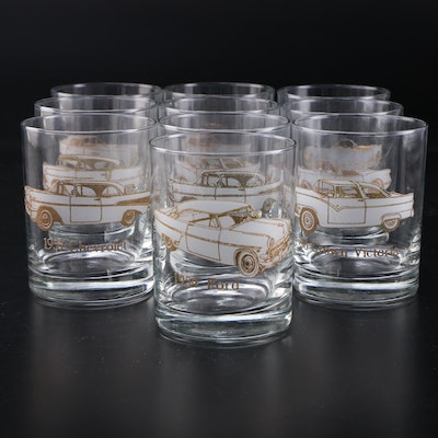 1950s Classic Cars Textured Gold and Frosted Rocks Glasses, Mid to Late 20th C.