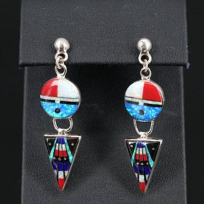 Western Sterling Opal and Enamel Dangle Earrings