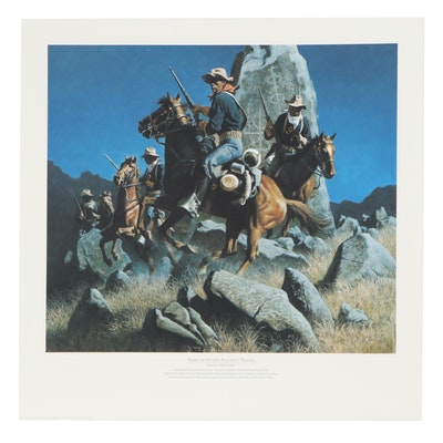 "Frank C. McCarthy Offset Lithograph ""Ambush at the Ancient Rocks,"" 1995"