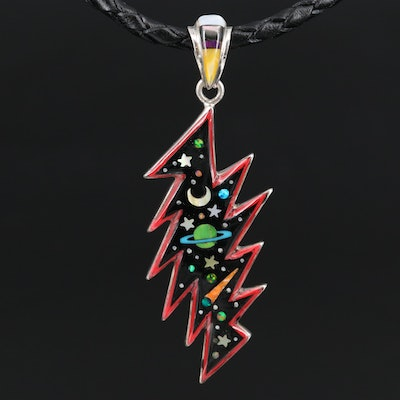 Sterling Mother of Pearl and Opal Galaxy Pendant Necklace