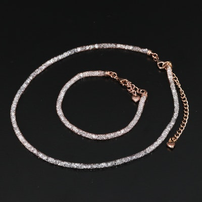 Sterling Cubic Zirconia Mesh Bracelet and Necklace