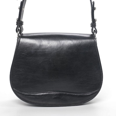 Bosca Flap Front Saddle Bag in Black Leather