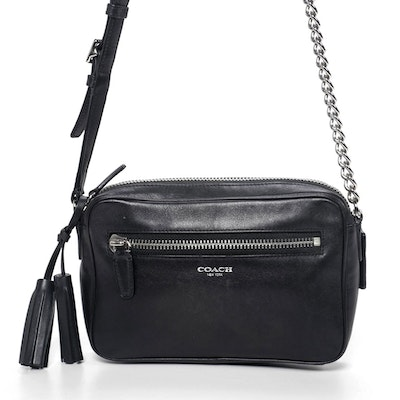 Coach Chain Strap Legacy Flight Crossbody Bag in Black Leather with Tassels