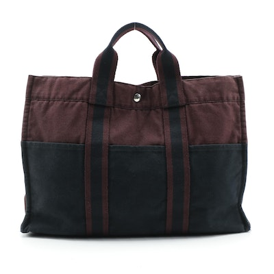 Hermès Fourre Tout Navy and Wine Canvas Tote
