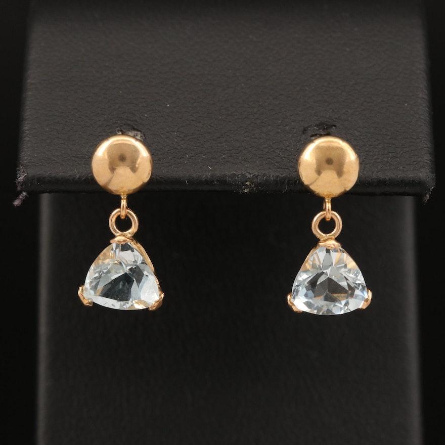 14K Aquamarine Drop Earrings