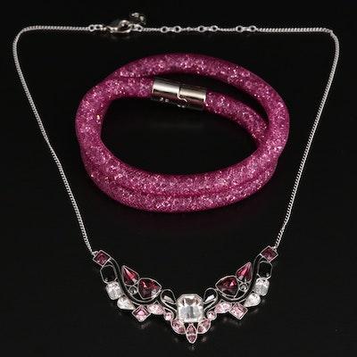 "Swarovski Crystal ""Impulse"" Multicolor Necklace and Stardust Wrap Bracelet"