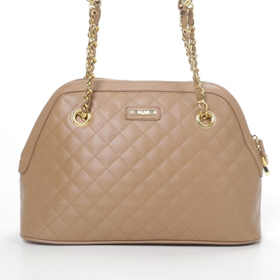 Iman Shoulder Bag in Quilted Tan Leather with Interwoven Chain Strap