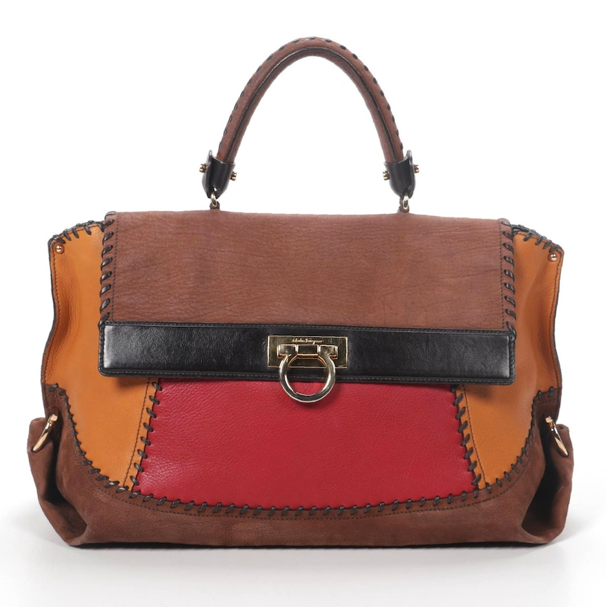 Salvatore Ferragamo Gancini Two-Way Bag in Whipstitched Color Block Leather