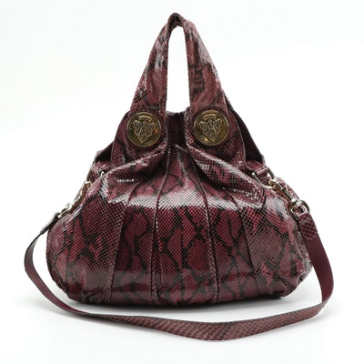 Gucci Hysteria Purple Python Skin Two-Way Hobo Bag