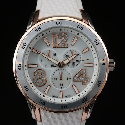 Two Tone Crystal Accented Quartz Wristwatch