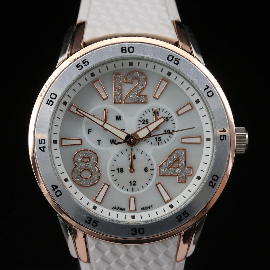 Two Tone Crystal Accented Quartz Wristwatch