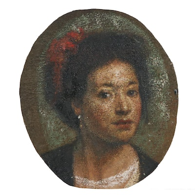 Oil Painting of Young Woman Portrait, Mid-20th Century