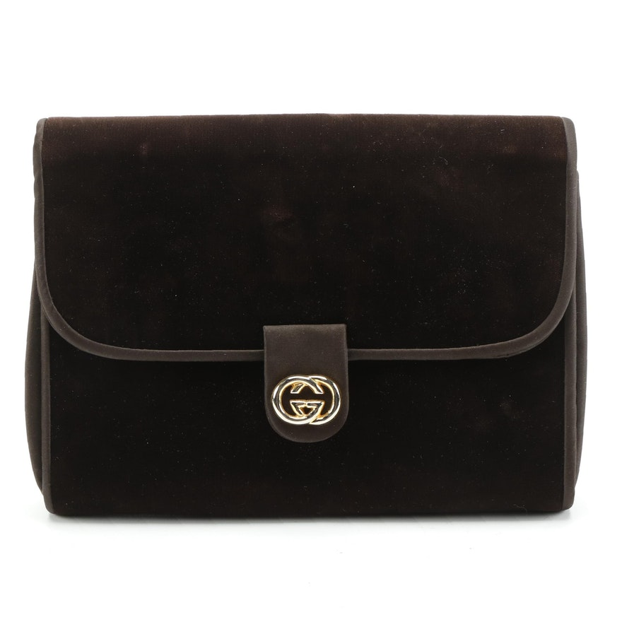 Gucci Interlocking GG Brown Velvet Clutch, Mid 1950s - Early 1960s
