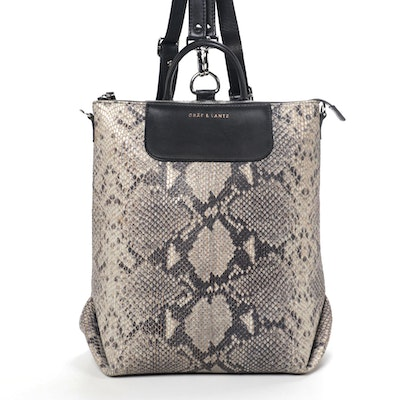 Gräf & Lantz Two Way Backpack Shoulder Bag in Python Print Leather