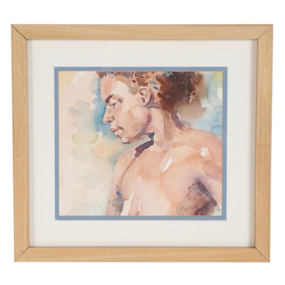 Raymond Zaplatar Watercolor Painting Portrait, 2016