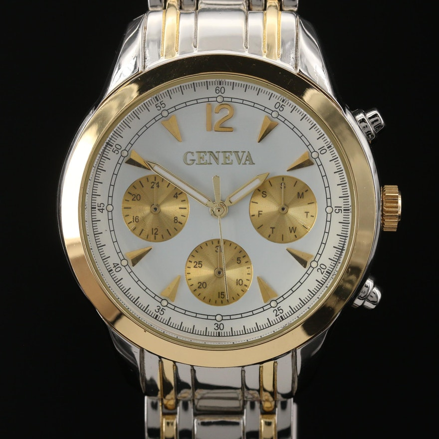 Geneve Two Tone Quartz Wristwatch