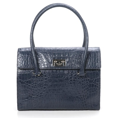 Kate Spade New York Satchel in Crocodile Embossed Blue Leather