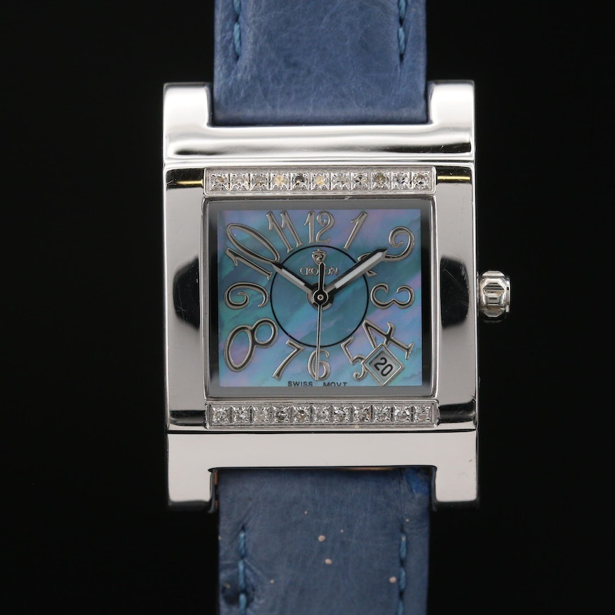 Croton Diamond and Stainless Steel Quartz Wristwatch with MOP Dial