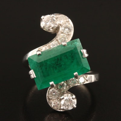 Circa 1950 14K Emerald and Diamond Bypass Ring