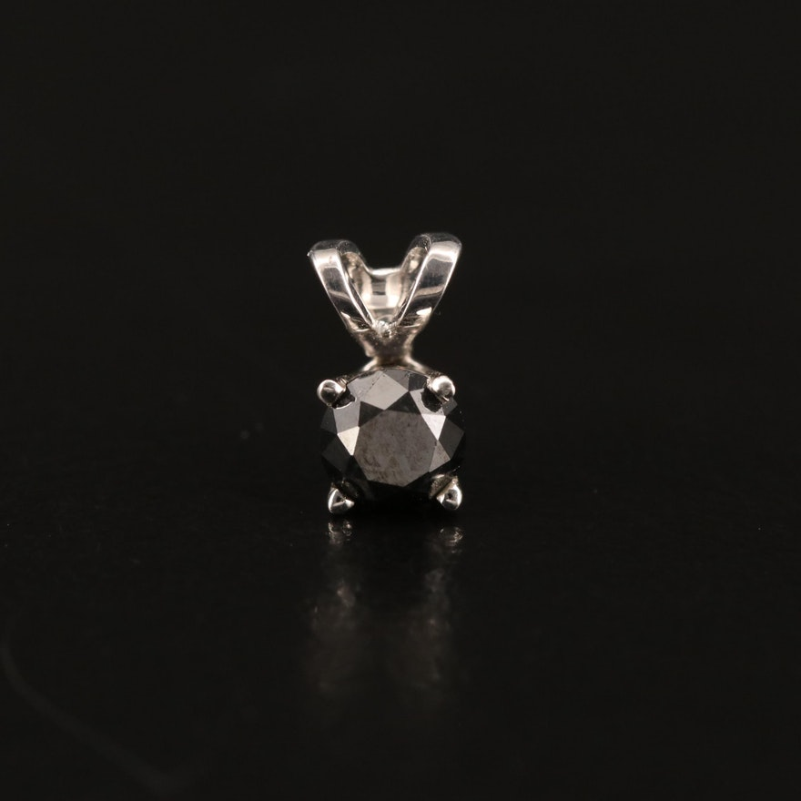 14K 0.30 CT Black Diamond Solitaire Pendant