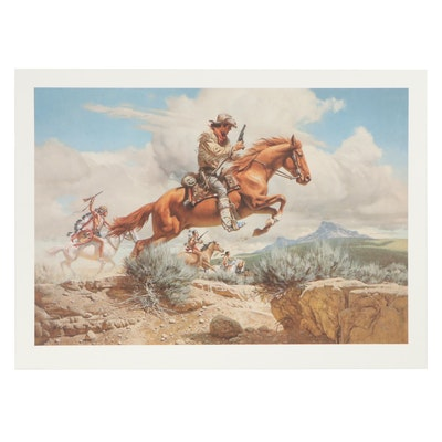 "Frank C. McCarthy Offset Lithograph ""Pony Express,"" 1991"