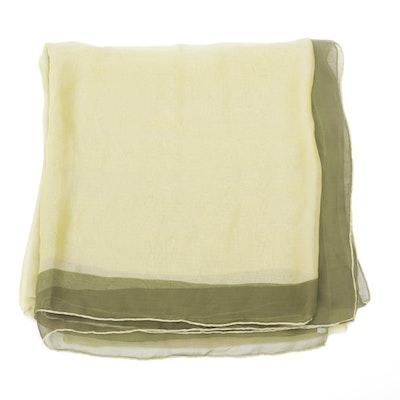 Hermès Olive Green and Chartreuse Silk Chiffon Scarf