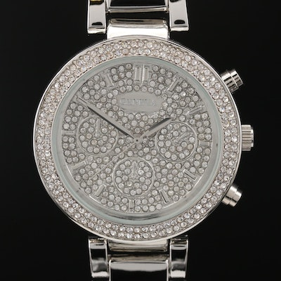 Geneva Quartz Wristwatch with Crystal Accents
