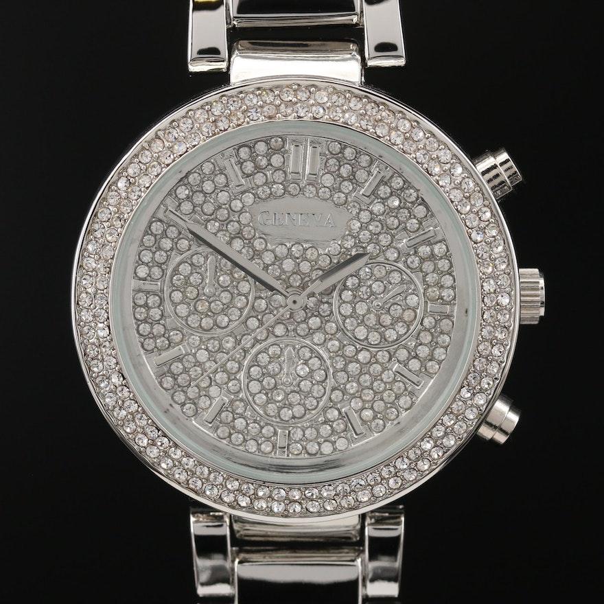 Geneva Quartz Wristwatch with Crystal Accents