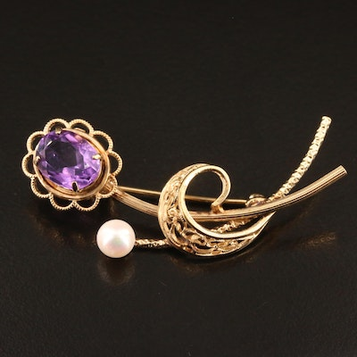 Amethyst and Pearl Floral Brooch