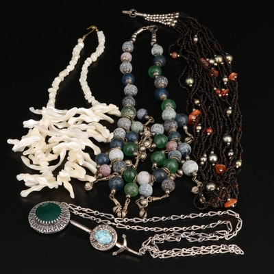 Assorted Bead Necklaces with Sword Brooch Featuring Agate, Shell and Glass
