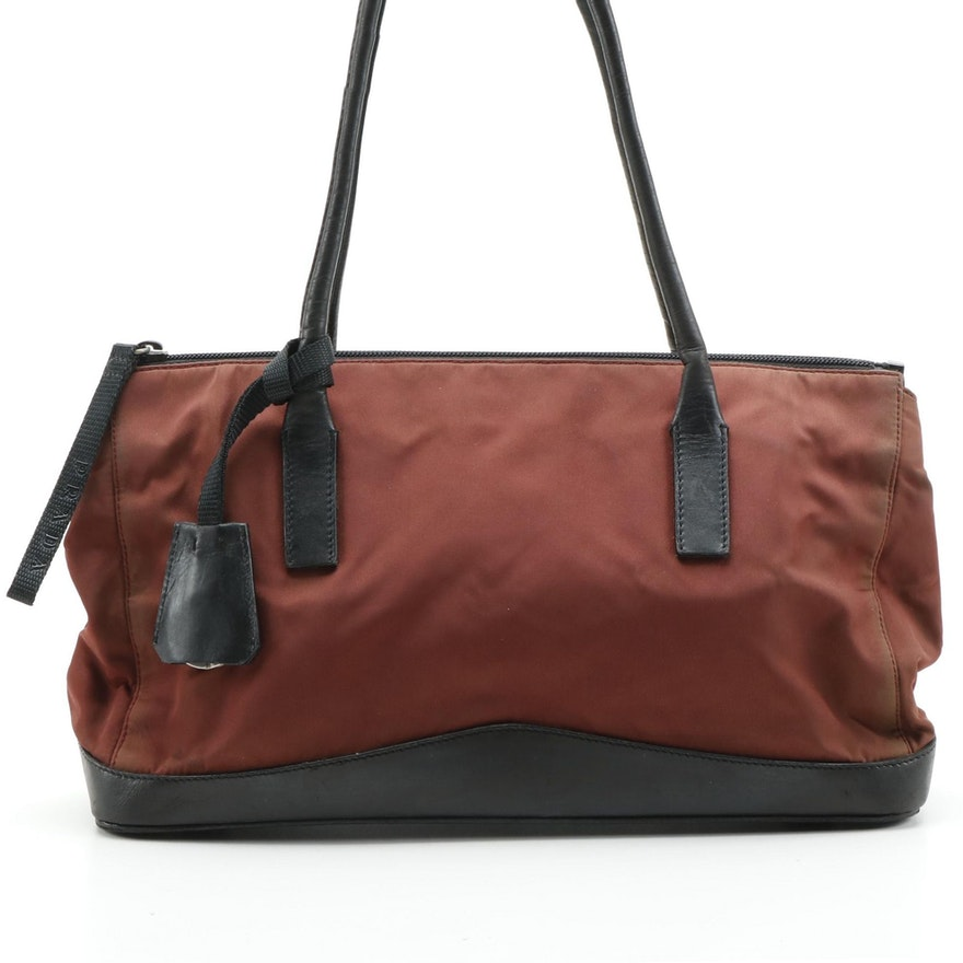 Prada Rust Nylon and Black Leather Horizontal Bag
