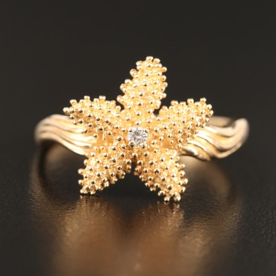 14K Diamond Starfish Ring