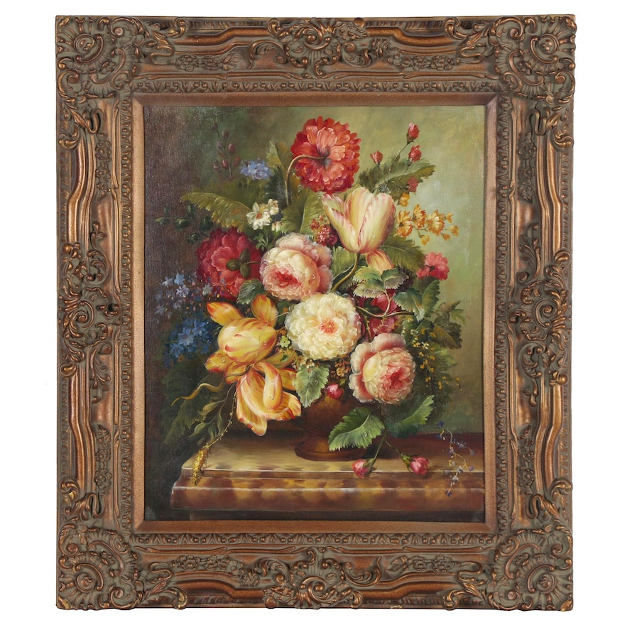 English School Style Floral Still Life Oil Painting, 21st Century