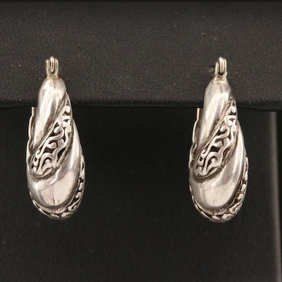 Sterling Oblong Hoop Earrings with Scroll Pattern