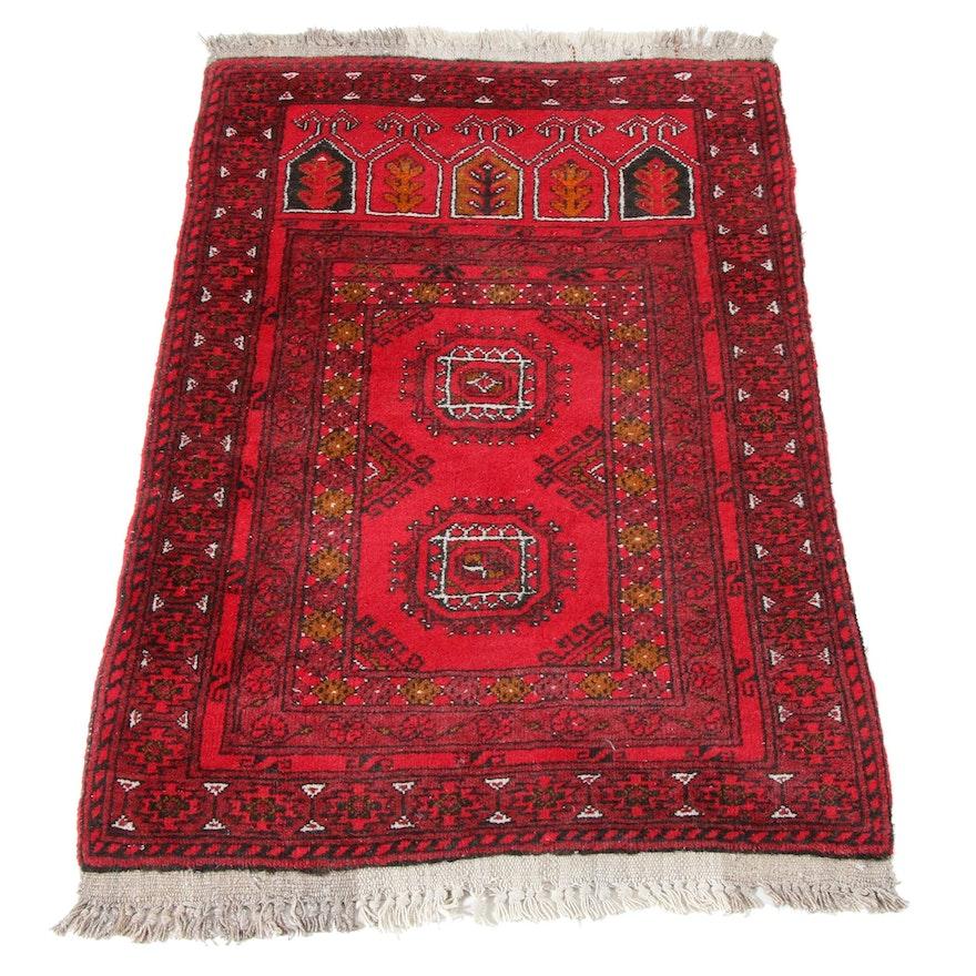 2'7 x 4'3 Hand-Knotted Afghani Turkoman Rug, 1970s