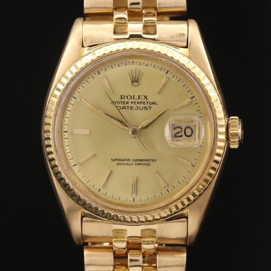 1962 Rolex Datejust 1601 18K Yellow Gold Automatic Wristwatch