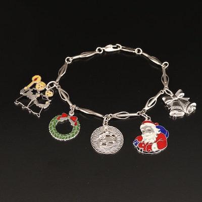 Vintage Sterling Christmas Charm Bracelet