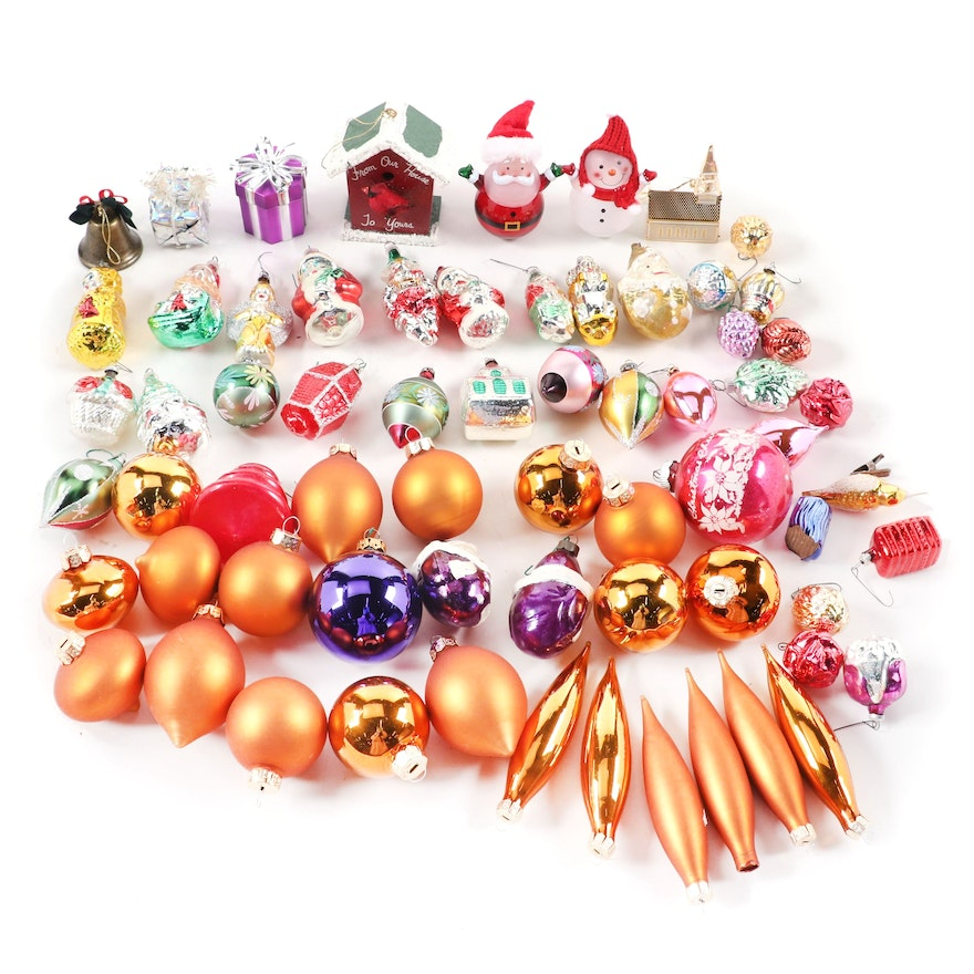 Blown Glass and Other Christmas Tree Ornaments, Mid to Late 20th Century