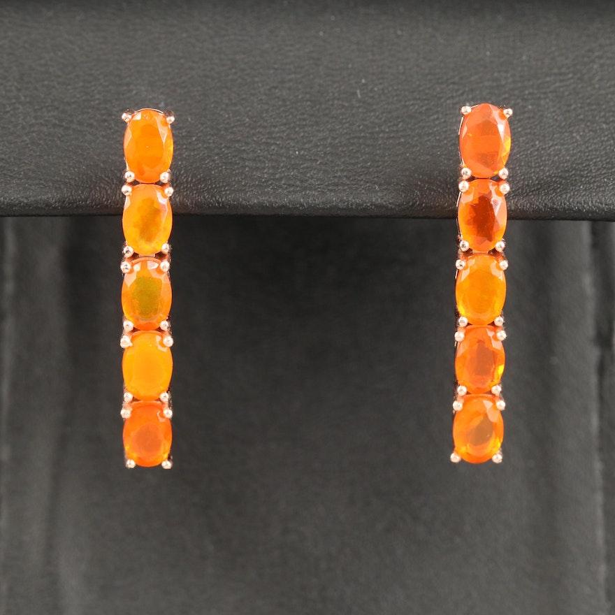 Sterling Silver Fire Opal Drop Earrings