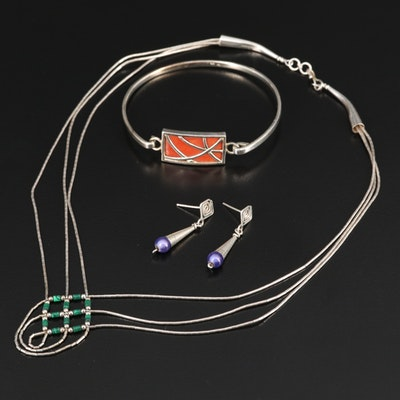 Sterling Silver Necklace, Bracelet and Earrings Featuring Enamel