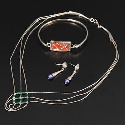 Sterling Silver Necklace, Bracelet and Earrings Featuring Enamel