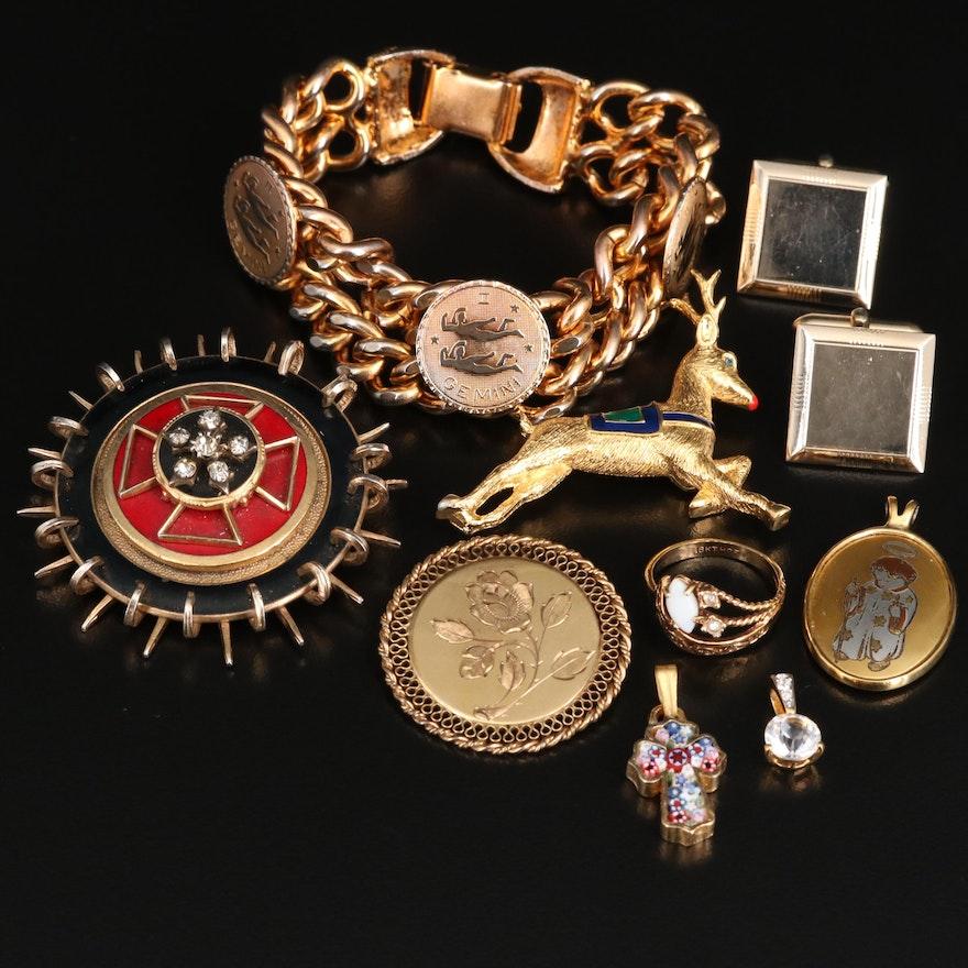 Assorted Jewelry Opal, Glass, Enamel Including Millefiori Mosaic Cross Pendant