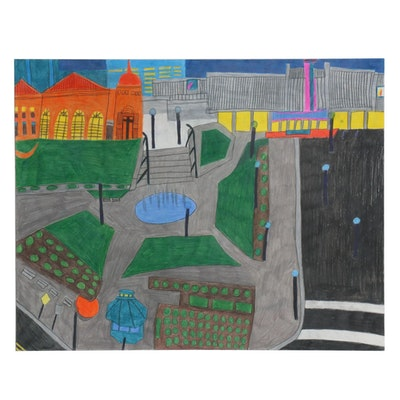 Darian Johnson Colored Pencil Drawing of City Block Scene, 21st Century