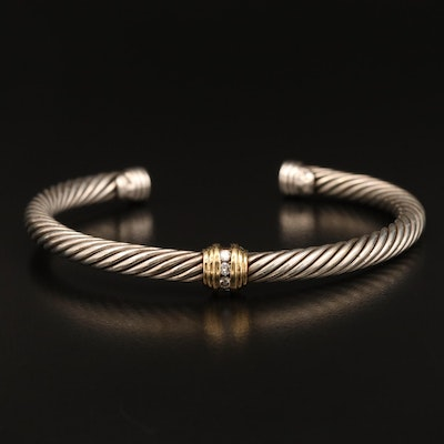 David Yurman Sterling Silver Diamond Cable Cuff with 18K Accent